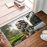 QDYLM Alfombra de baño de Microfibra esponjosa,Mighty Tiger Rock Metal Style Herido Tiger Roaming City Road con Engranaje mecánico Reloj alfombras de Ducha de Suave Absorbente de Agua, 50x80 cm