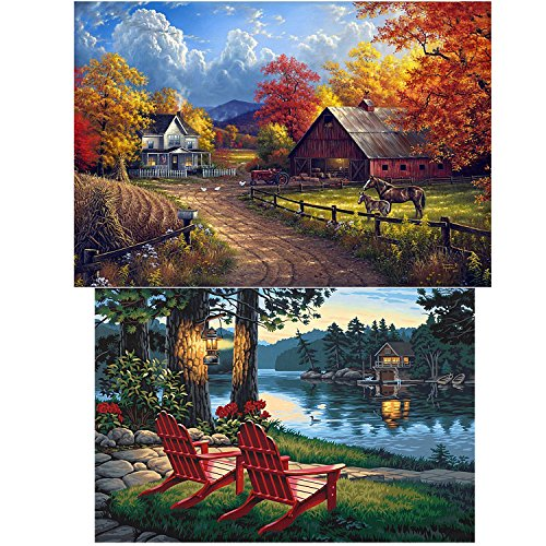 HaiMay 2 Pack DIY 5D Diamond Painting Kits for Adults Paint by Number Kits Full Drill Painting Diamond Pictures Arts Craft for Wall Decoration, Village Farm(12X18 inch) and Village River(12X16 inch)