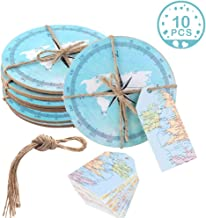 Wmbetter 10PCS Drink Coasters Compass Cork Coasters with DIY Tags, Nautical Party Favors for Baby Shower Wedding Nautical Themed Decor