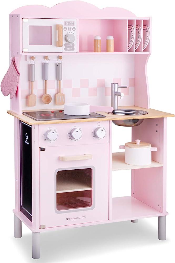 New classic toys kitchenettemodern,electric cooking-pink,cucina accessioriata per bambini,in legno 11067