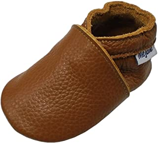 Mejale Baby Infant Toddler Shoes Slip-on Soft Sole Leather Moccasins Pre-Walkers Brown