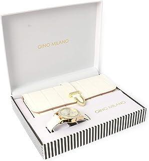 Women's Matching Leather Watch & Tri-Fold Wallet Gift Set - White