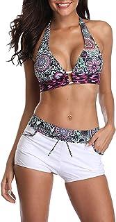 Women's Plus Size Floral Halter Tankini Set Swimwear with Boyshort Halterneck Swimsuit Bikini
