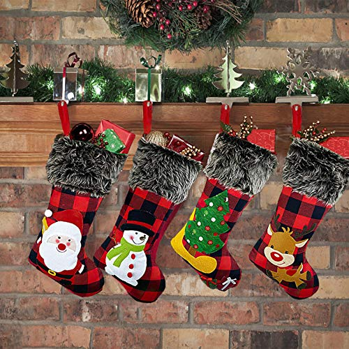Christmas Stockings 4 Pack, 18' Big Xmas Stockings, Burlap Plaid Style with Snowflake Santa Snowman Reindeer and Plush Faux Fur Cuff Family Pack Stockings for Xmas Holiday Party Decor