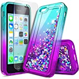 NZND Case for iPhone 5C with Screen Protector (HD Clear), Sparkle Glitter Flowing Liquid Quicksand Floating Waterfall Shiny Bling Girls Women Cute Case -Aqua/Purple