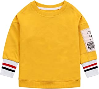 Color : White, Size : 2XL Eveliyning Men Teens Letter Print Sweatshirt Spring Long Sleeve Pullover Top 18-24T