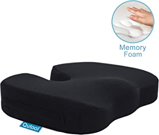 Car Seat Cushion for Office Chair, Desk and Wheelchair Orthopedic 100% Memory Foam Coccyx Cushion for Tailbone, Sciatica, Back Pain Relief Washable & Breathable Cover - Non-Slip Bottom