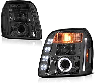[For 2007-2014 GMC Yukon XL 1500 2500] LED Halo Ring Chrome Smoke Projector Headlight Headlamp Assembly, Driver & Passenger Side