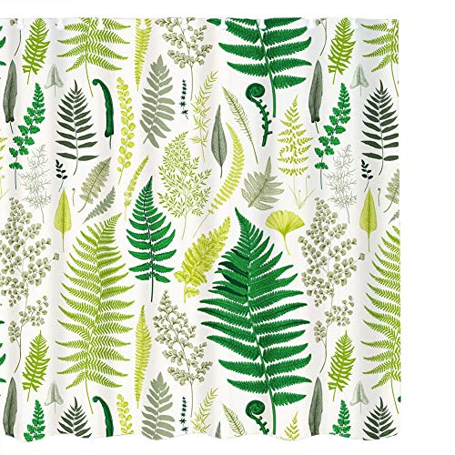 Sookie 3D Green Plant Leaves Pattern Shower Curtain -Waterproof - 72 x 72 inches