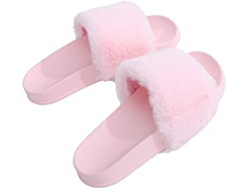 APIKA Women's Flip Flop Faux Fur Slipper Fuzzy Fluffy Comfy Sliders Open Toe Slip on