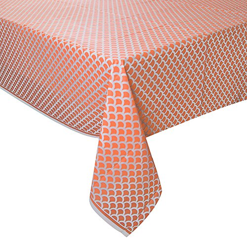 "Coral & White Scallop Print Plastic Tablecloth, 108"" x 54"""