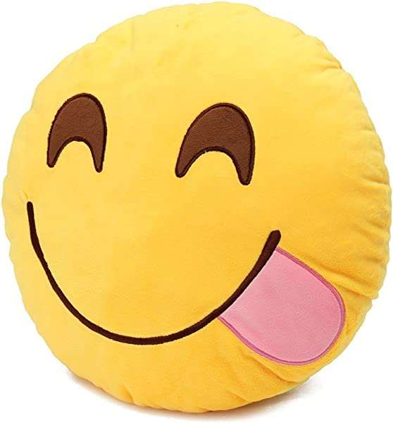 Round Oi Emoji Smiley Emoticon Cushion Pillow Stuffed Plush Toy Doll Yellow Glutton Free Yiwa Gifts Model By Catchvogue