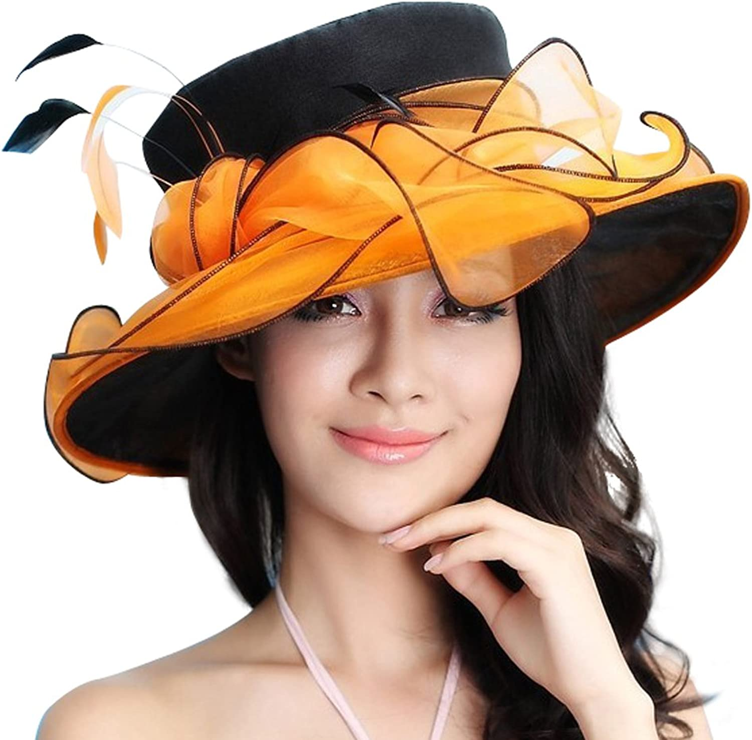 June's Young Women Organza Hat for Outdoor Sun Hat for Kentucky Derby