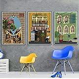 Casa Pueblo áRabe Viajes Ciudades Poster E Impresiones Paisaje Lienzo Pintura Dibujos Animados Arte De La Pared Cuadros para La Decoracion De La Salon De Estar 40x60cmx3 Sin Marco