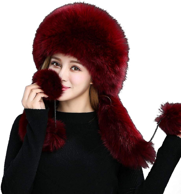 MINGXINTECH Women Real Rabbit Fur Watch Cap with Fox Fur Balls Flap Beanie