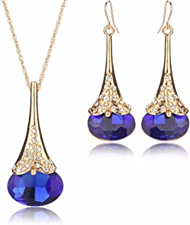 Women Fashion Crystal Water Drop Shape Gold Plated Jewelry Set Necklace Earring