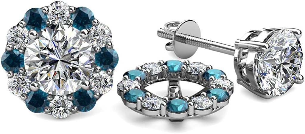 TriJewels Blue and White Diamond 0.72 Carat tw Women Halo Jackets for Stud Earrings in 14K White Gold