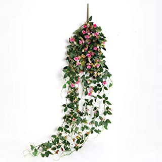 JUSTOYOU Artificial Hanging Plants Rose Vine 5FT Long Fake Flower Greeny Chain Wall Home Room Garden Wedding Indoor Outdoor Decorative (Hot Pink)