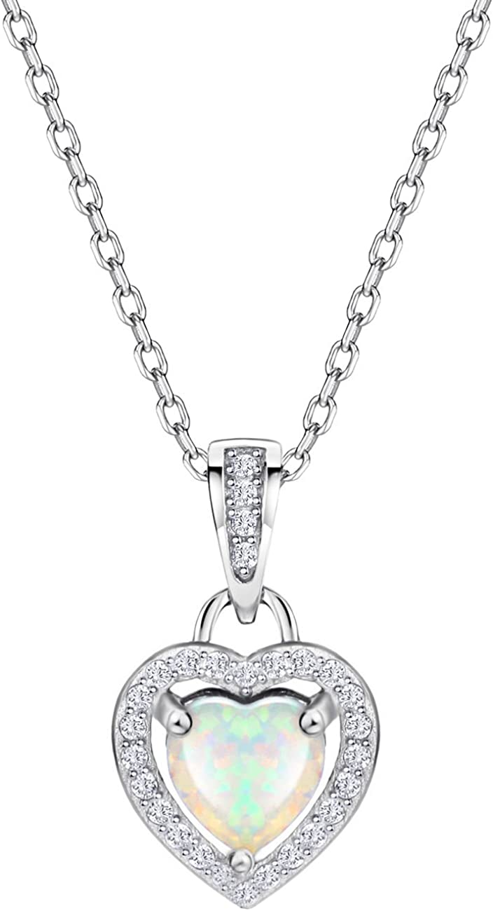 S925 Opal Pendant Necklace Heart Neck New sales Accented Diamond Halo New York Mall with