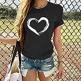 XCLWL Camiseta para Mujer Harajuku con Estampado De Corazón, Manga Corta, Cuello Redondo, Camiseta Holgada, Camisetas De Verano, Camisetas De Manga Corta para Mujer-Black_XXXL