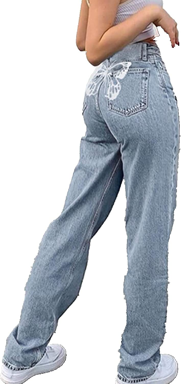 MASZONE Y2K Fashion Jeans, Women High Waist Jeans Vintage Casual Baggy Trousers TIe Dye Pants Denim Pants Colorful Pants
