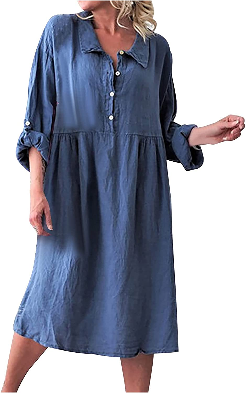 Meitianfacai Women Summer Casual 3/4 Sleeve Loose Retro Dress Lapel Dress Button High Waist Flowy Tunic Dress Midi Dress