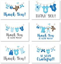 24 Blue Clothesline Baby Shower Thank You Cards With Envelopes, Boy Sprinkle Thank-You Note, 4x6 Gratitude Card Gift For G...