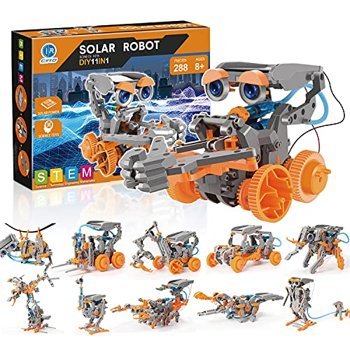 CIRO STEM Projects Solar Robot Toys, 11-in-1 Education Science Experiment Kits for Kids Ages 8-12, 288 Pieces Building Set