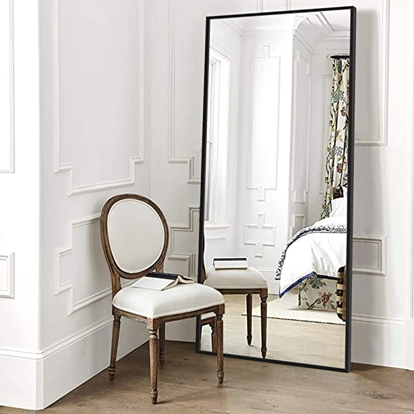 Elevens Full Length Floor Mirror 65 X22 Large Rectangle Wall Mirror Standing Hanging Or Leaning Against Wall For Bedroom Dressing And Wall Mounted Thin Frame Mirror Black