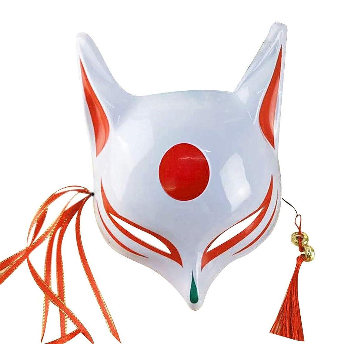 真っ逆さまピット鼓舞するKISSION手描きのマスクフォックスハーフフェイスマスクロールプレイ仮装ドレスアップ マスクバーパーティー キツネの妖精の半分の顔 和風の手描き