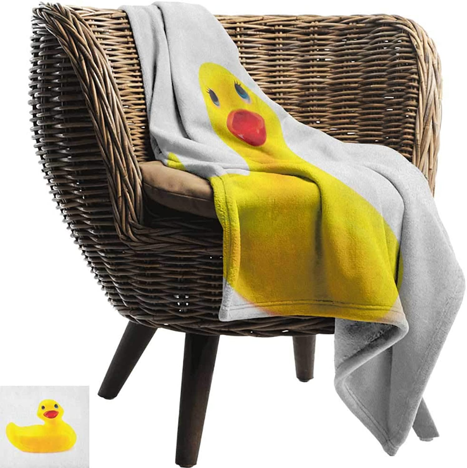 ZSUO Baby Blanket Yarn 50 x60  Inch Rubber Duck,Yellow Squeak Ducky Toy Fun Bubble Bath Animal Kids Room Duckling Print White and Yellow Lightweight Microfiber,All Season for Couch or Bed