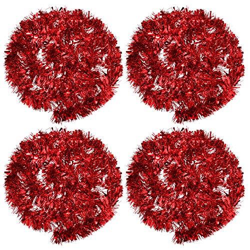 BBTO 4 Stück Weihnachten Lametta Girlande Metallisch Lametta Girlande Glänzend Weihnachtsbaum Ornamente für Weihnachten Hochzeit Geburtstag Party Dekorationen (Rot)