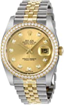 Rolex Oyster Perpetual Datejust 36 Champagne Dial Stainless Steel and 18K Yellow Gold Rolex Jubilee Automatic Ladies Watch 116243CDJ
