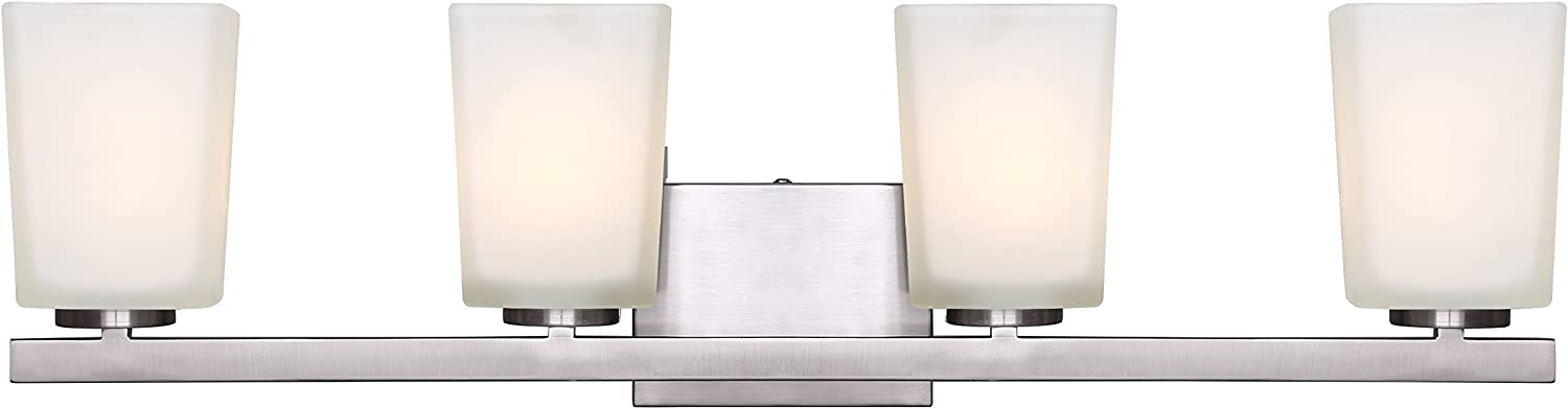Canarm LTD IVL472A04BN Hartley 4 Light Vanity, Brushed Nickel with Flat Opal Glass