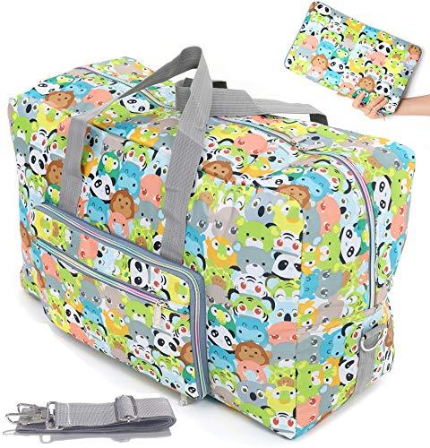 Large Foldable Travel Duffle Bag For Women Hospital Bag Cute Floral Tote Handbag Shoulder Weekender Overnight Carry On Checked Luggage Bag For Girls (panda)