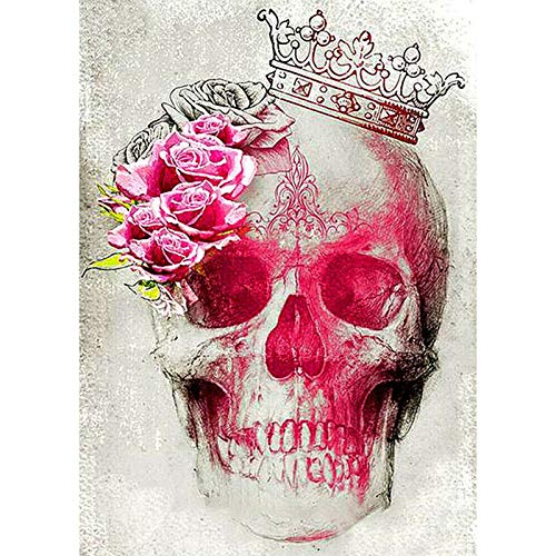 DIY 5D Diamond Painting by Number Kit for Adult,Full Diamond Piture Rhinestones by Number Kits Skull 11.8x15.7 in by BOYIsy