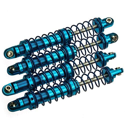 MOHERO RC Aluminum Suspension Shock Absorbers Set for 1/10 RC D90 SCX10 Crawler Car Pack of 4 (90MM, Blue)