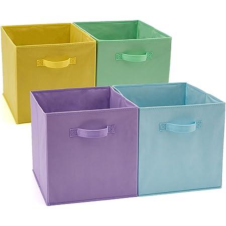 EZOWare Boîtes de Rangement Ouvertes en Textile Non-Tissé, Cube, Carré, Pliable, Tiroir en Tissu, Pack de 4, pour Linge, Jouets, Vêtement, Disques DVD etc - (33 x 38 x33 cm) (Couleur Assortie)