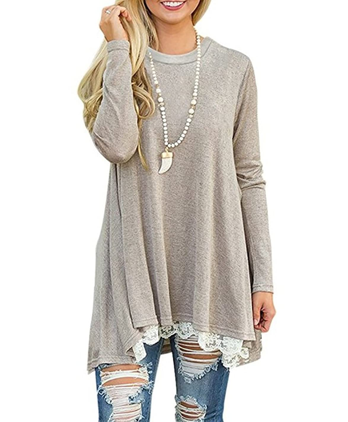 Womens Causal Lace Long Sleeve Tunic Top Blouse Loose Swing T Shirt Dress A Line Dress with Pockets