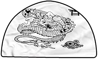 Anti-Slip Cooking Kitchen Carpets Japanese Dragon,Tattoo Art Reptile,W24 x L16 Half Round Polyester Area Rug Mat