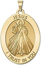 PicturesOnGold.com Divine Mercy Oval Religious Medal - 1/2 X 2/3 Inch Size of Dime, Solid 14K Yellow Gold