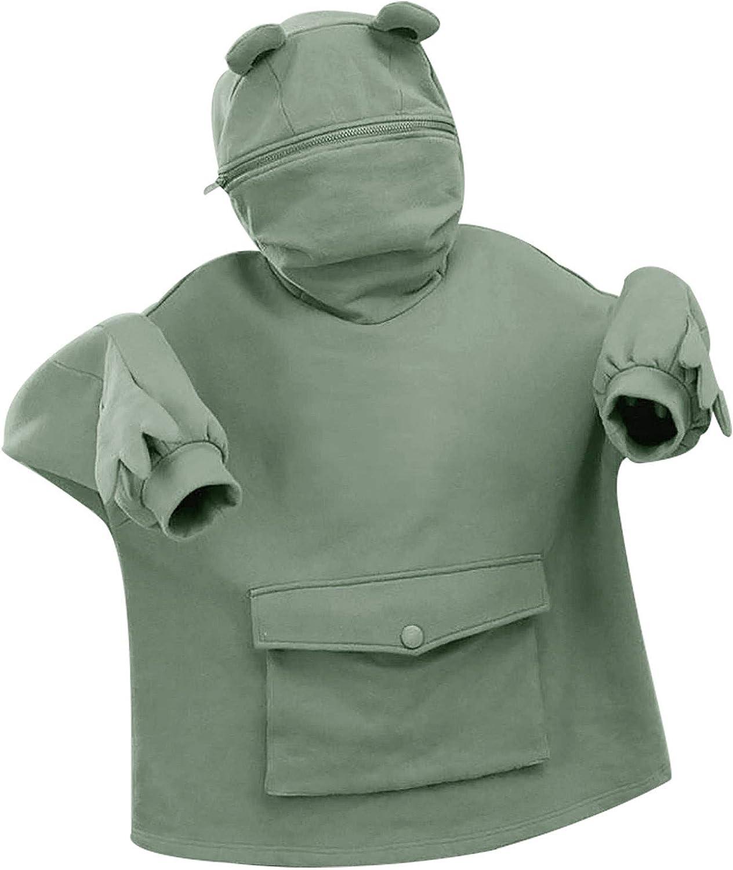 Afelkas Cute Frog Hoodie Playful Design Plus Size Sweatshirt Long Sleeve Pockets Pullover Zipper Hat Solid Loose Blouse