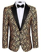 COOFANDY Men's Floral Party Dress Suit Stylish Dinner Jacket Wedding Blazer Prom Tuxedo Golden Yellow