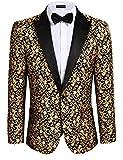 COOFANDY Men's Floral Dress Suit Jacket Jacquard Dinner Prom Blazer Fashion Tux