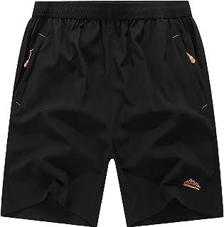 Muzboo Pantalones cortos deportivos ligeros de secado rápido para hombre, con bolsillos con cremallera, grandes y altos