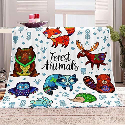 WDNKJQ Manta de Sofá Super Suave, Calentita, 100% Microfibra 130x150 cm Manta de Franela para Sofá/Cama/Cámping/Viaje - Color Animal