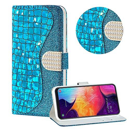 Diamant Brieftasche Hülle für Galaxy M30,Blau Wallet Handyhülle für Galaxy M30,Moiky Ultra Dünn Stilvoll Laser Glitzer Farbe Block Klappbar Stand Silikon Handytasche