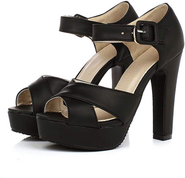 Mamamoo Peep Toe Ankle Strap Thick High Heel Sandals Platform Ladies shoes Women Brand Dress Footwear Sandal