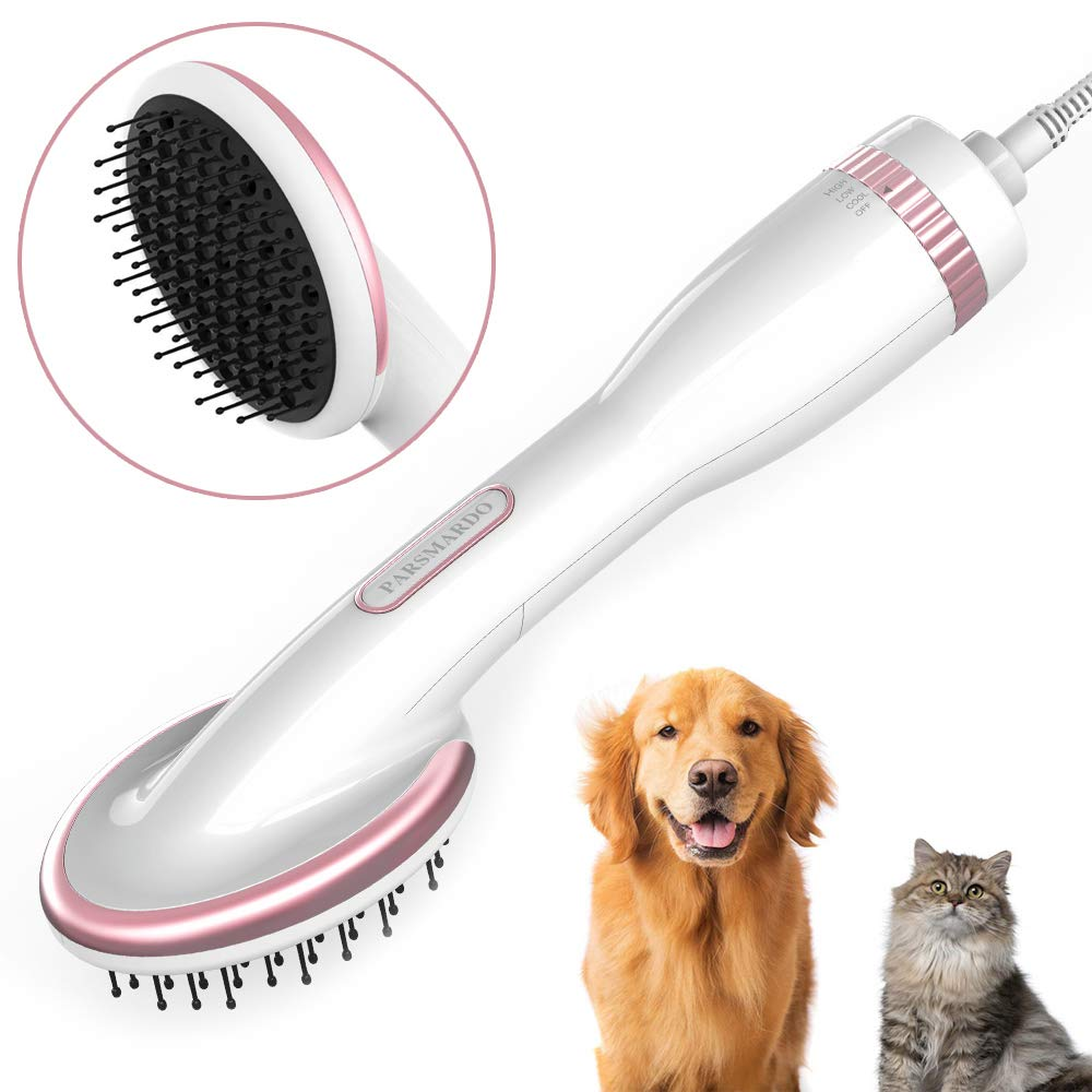 HANMEI Pet Hair Dryer for Dogs Cats, 2 in 1 Pet Grooming Blower Dryer 1000W Adjustable Temperature Settings for Medium Pets (White)