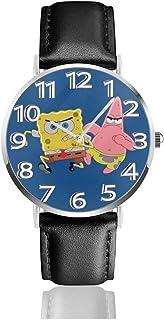 Running Spongebob Squarepants Unisex Easy Reader Quartz Analog 38mm Leather Strap Watch